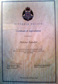 Certificate of appreciation from Victoria Police